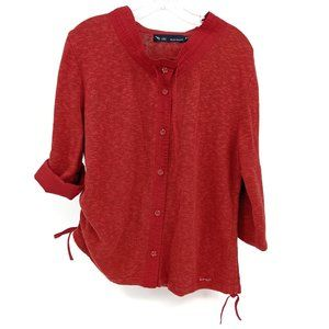 Blue Willi's Life Linen Cardigan Red Buttoned XL